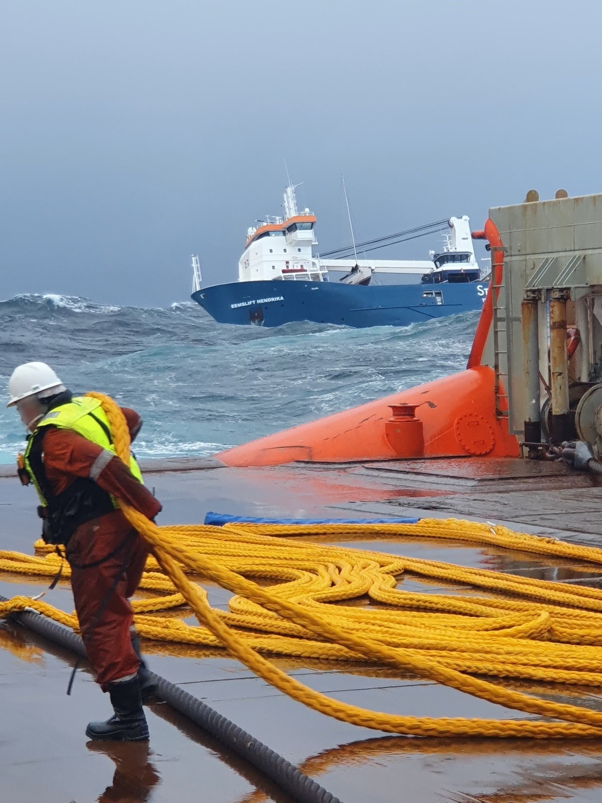 Ropes from OTS in the rescue operation of  cargo ship in distress.